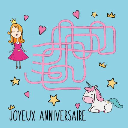 miamots-carte postale-anniversaire-licorne-labyrinthe