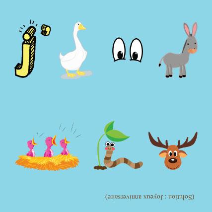 miamots-carte postale-anniversaire-rebus-enfants-bleu-