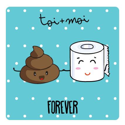 miamots-carte postale-caca-pq-forever-kawaii