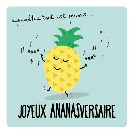 Miamots-carte postales-ananas-anniversaire