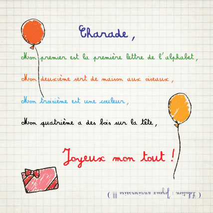 miamots-carte postale-charade-anniversaire-enfants-cahier