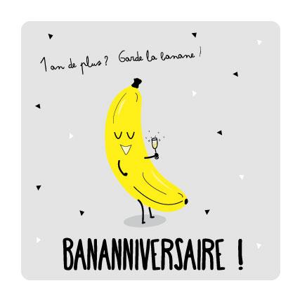 banane anniversaire carte postale