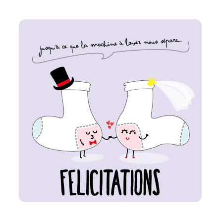chaussettes mariage carte postale félicitaions